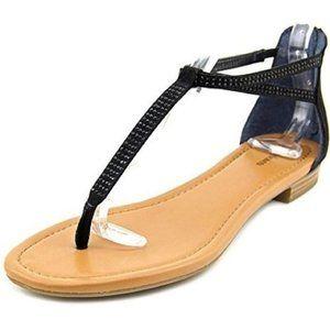 Style & Co Black Open Toe Faux Suede Thong Sandal